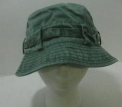 Fisherman Unisex Bucket Hat Green Washed Worn Style Duck Hun