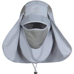 DDYOUTDOOR Fishing Cap Neck Face Flap Hat Gray