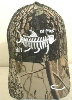 FISHING HAT BORN TO FISH THIN CAP WITH HOOK WOODS CAMOUFLAGE