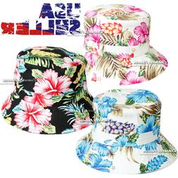 Floral Bucket Hat Cap Camping Fishing Brim Sun Safari Hawaii
