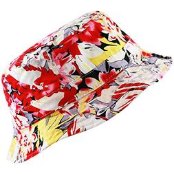 THE HAT DEPOT Floral Print Hawaiian Flower Beach Bucket Hat