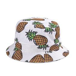 Girls Ladies Headwear Pineapple Pattern Wide Rim Flat top Fi