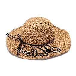 Hat female sun hat folding straw hat embroidery sun hat sun