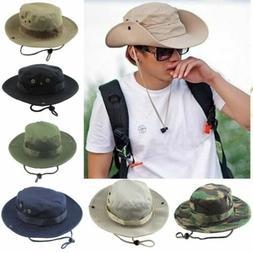Hats Brim Wide Camo Bucket Boonie Hiking Cap Mens Hunting Fi