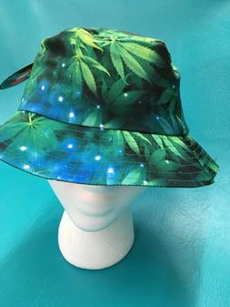 Kbethos Green Weed Marijuana Galaxy Bucket Boonie Hat