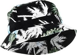 KBM-006 BLK-BLU Floral Print Bucket Hat Hawaii Hat Cap