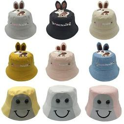 Kid Boys Girls Toddler Cartoon Bucket Hats Caps Foldable Sun