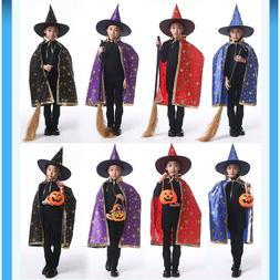 Kids Children Halloween Costume Wizard Cape Cloak Robe Broom