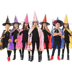 Kids Halloween Costume Wizard Cape Cloak & Hat Cosplay Witch
