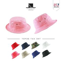 Bucket Hat - Kids Washed Cotton Travel Bucket Packable Hat