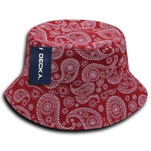1 Dozen DECKY Bandana Bucket Hat Hats Paisley Cotton 2 sizes Wholesale