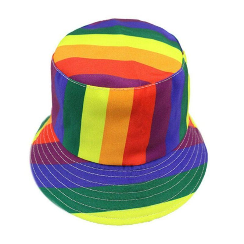 1Pc Bucket Hat Rainbow Color Hat Wide Brimmed Hat for Girls