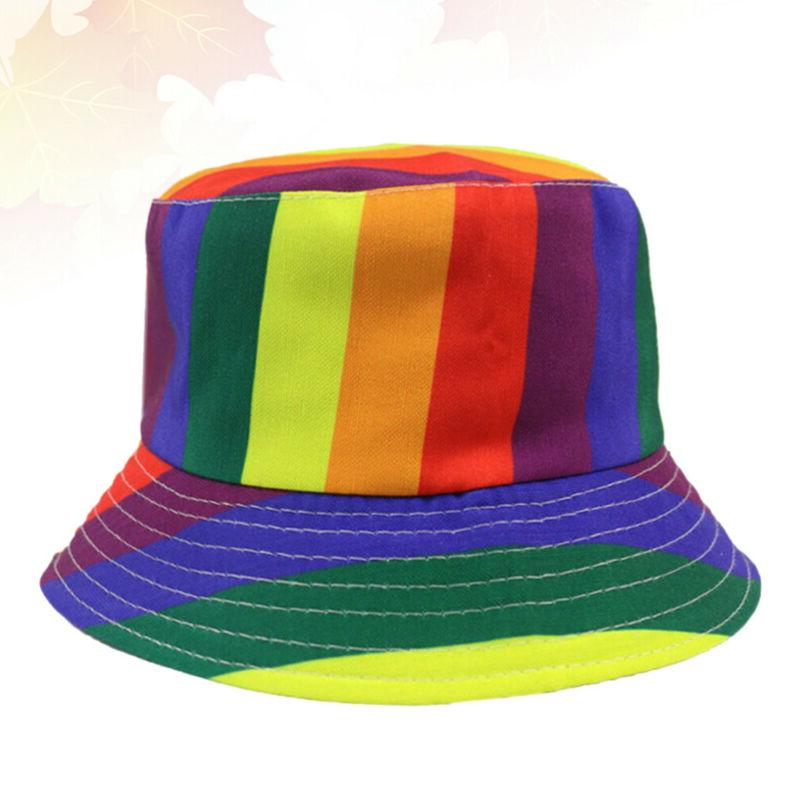 1Pc Bucket Hat Rainbow Color Wide Brimmed Hat Girls