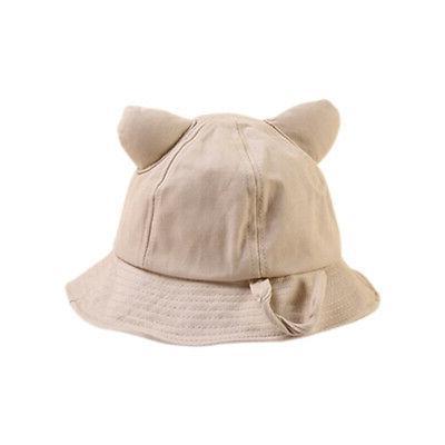 6 Baby Girls Ear Hats Reversible Sun Headwear
