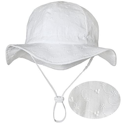 Toddler Girls White Cotton Sun Hats 50 UPF, Drawstring Adjus