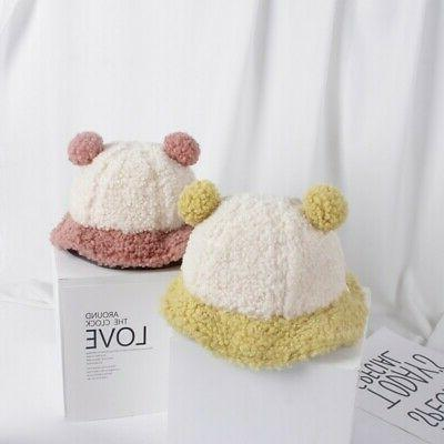 Baby Girl Winter Toddler Hats With Ball Design Headwear