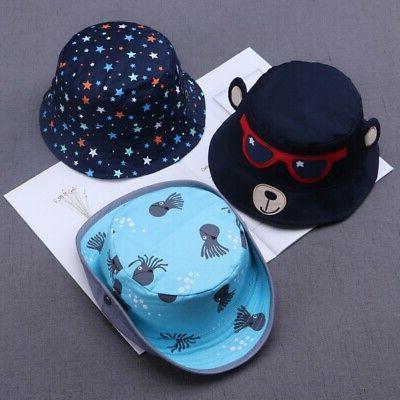 Toddler Baby Boys Girls Cartoon Printed Bucket Hats Caps Rev