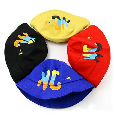 Baby Girls Letter Print Hats Caps Reversible Sun Headwear US