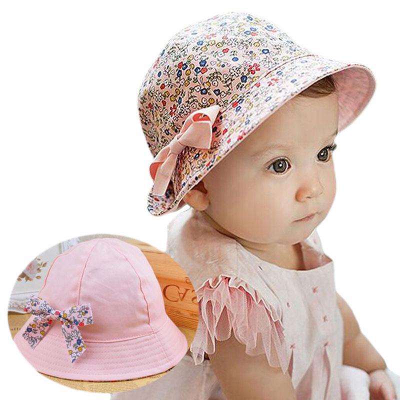 Baby Bucket Hat with Bowknot Flower Hat Newborn Kids Girls S