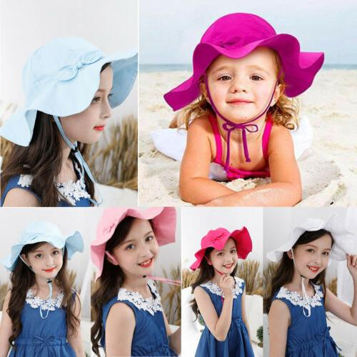 US Toddler Kid Girl Outdoor Sun Hat Brim Summer Bucket Hats