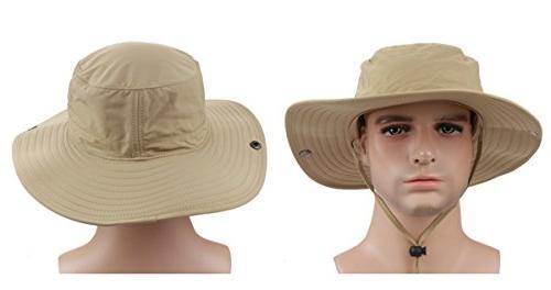 Panegy Outdoor Cap Cowboy Bucket with Cord Khaki