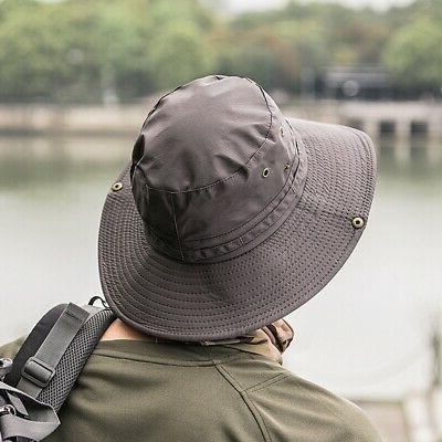 1xUnisex Bucket Hunting Fishing Outdoor Brim Safari Cap