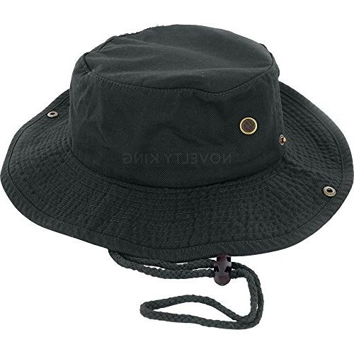 boonie fishing bucket hat with string black
