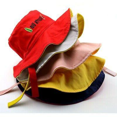 kids toddler letter print bucket hats caps