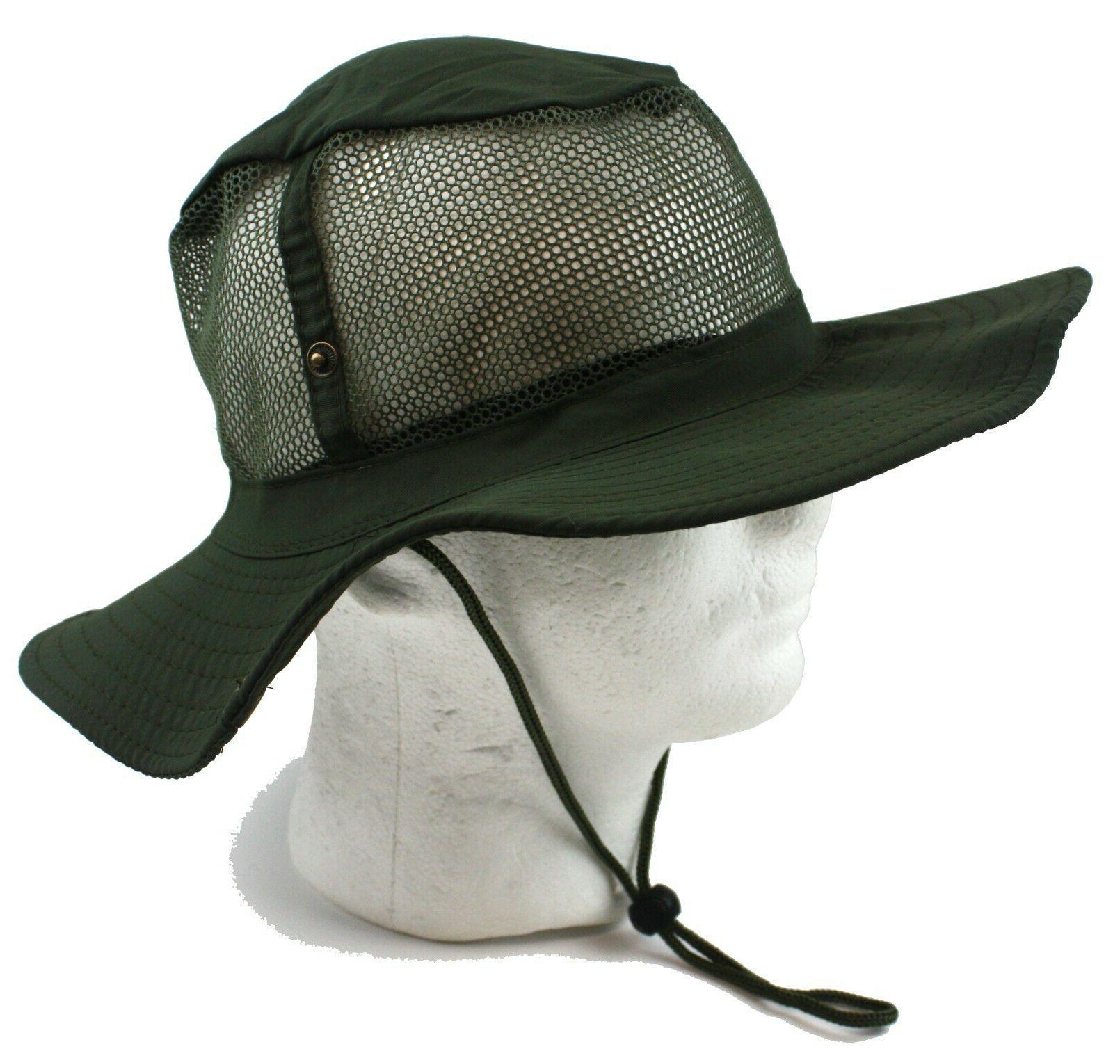 Bucket Hat Cap Boonie Fishing Wide Sun Summer Mesh