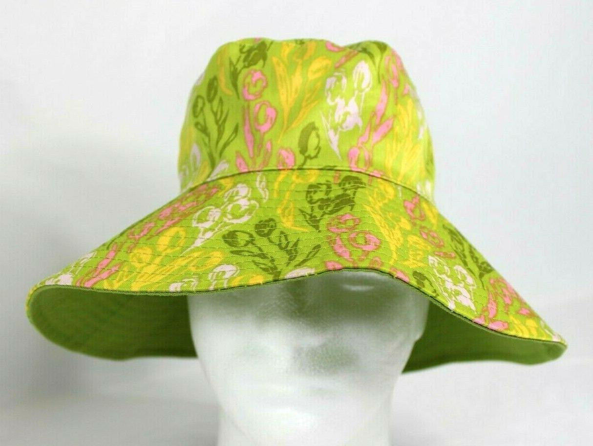 bucket hat floppy brim reversible tulips lime