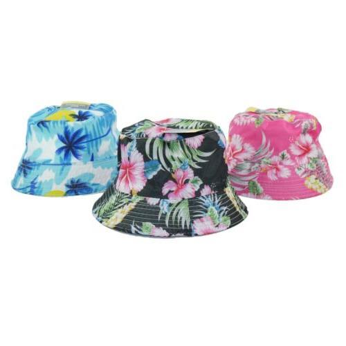 Bucket Hat Floral Hawaiian Reversible Print Summer Fashion T