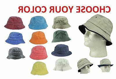 Cotton Fishing Bucket Hat Cap Black Green Blue Brown Beige N