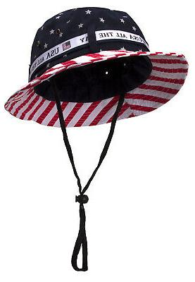 cotton twill usa american flag bucket hat