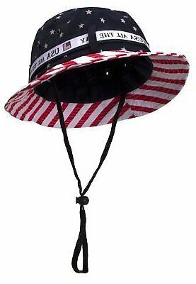 cotton twill usa flag bucket hat usa