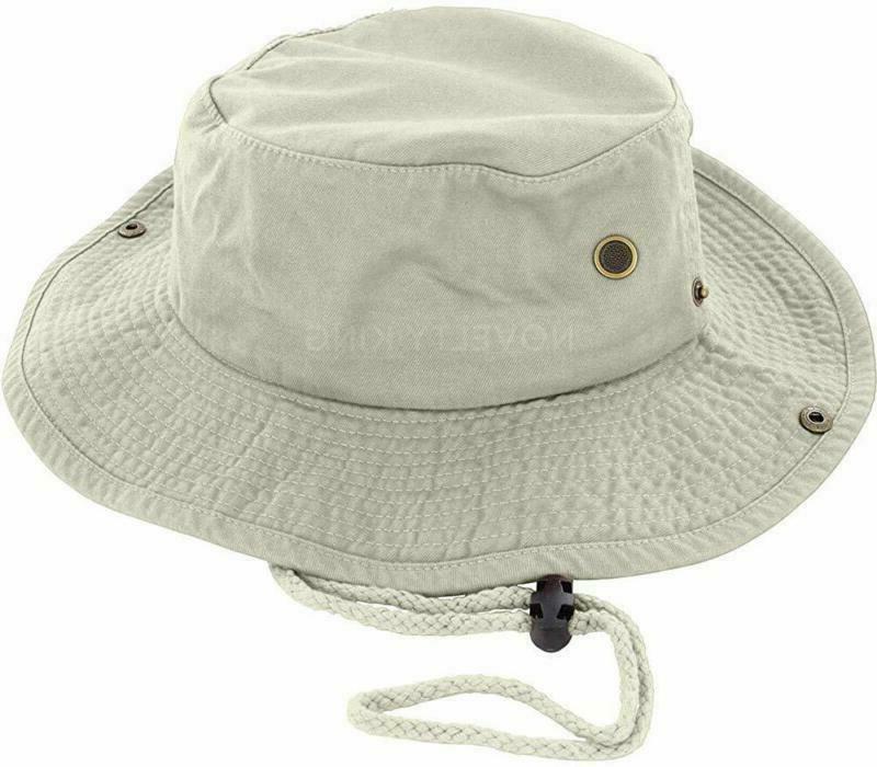 DealStock 100/% Cotton Boonie Fishing Bucket Men Safari Summer String Hat Cap