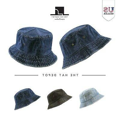 denim washed cotton bucket hat