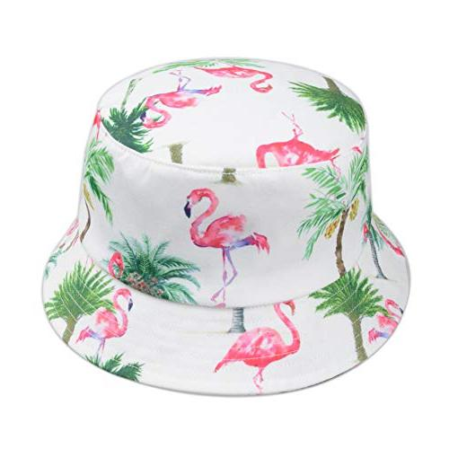 digital print bucket hat pink flamingo palm