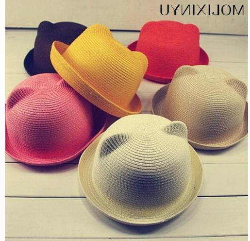 fashion ears straw hats baby hats
