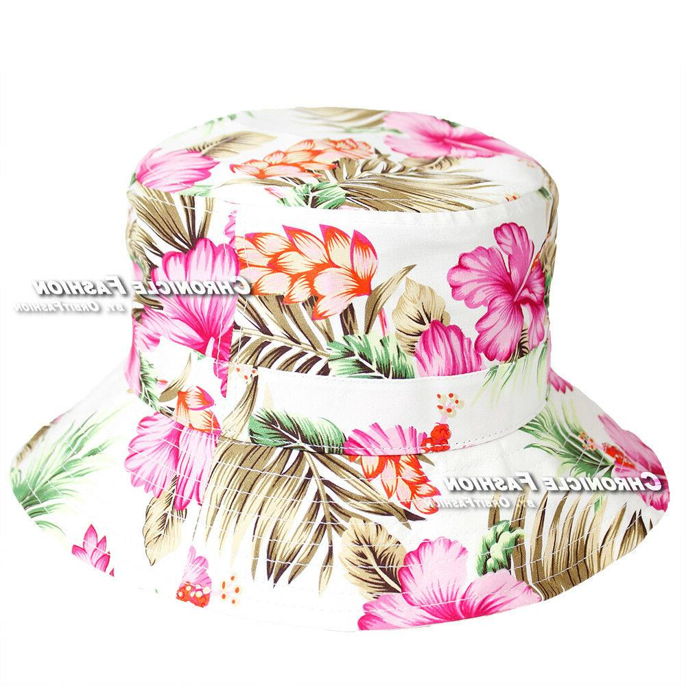 Floral Bucket Cap Visor Safari Hawaiian