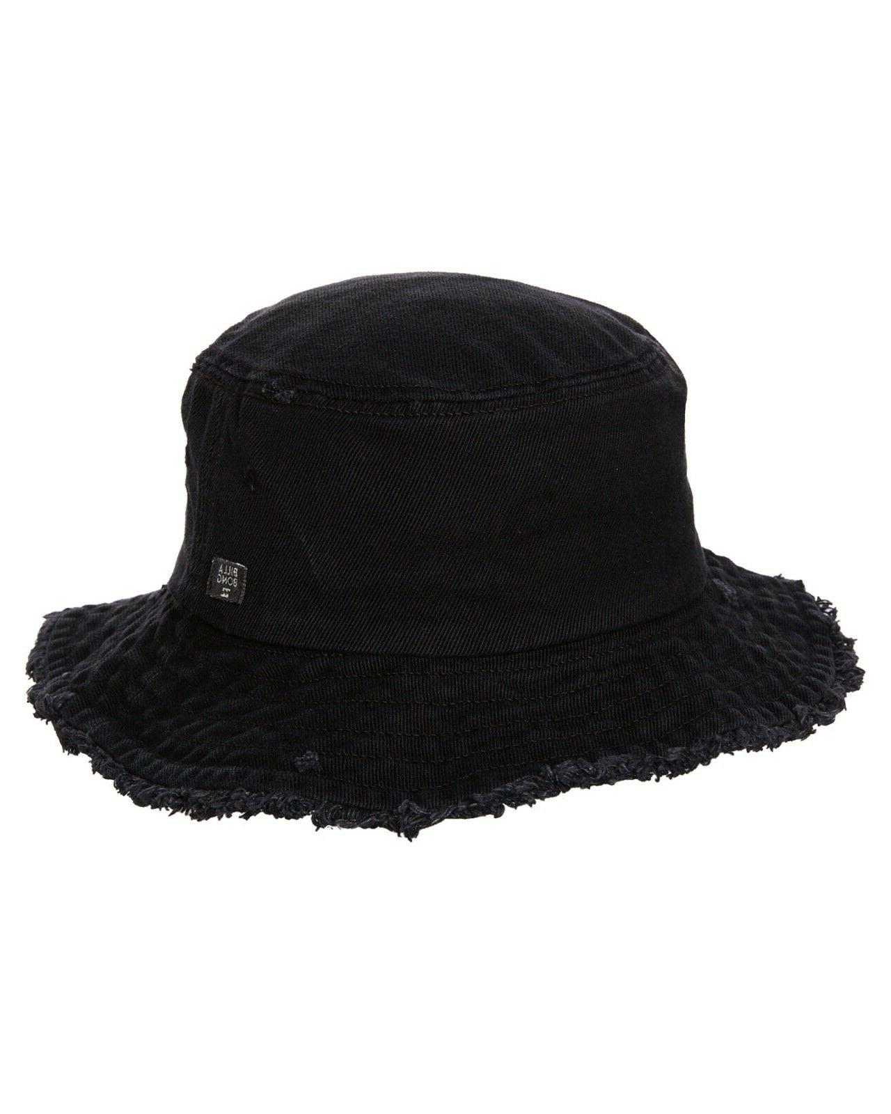 frayed sun bucket hat black new