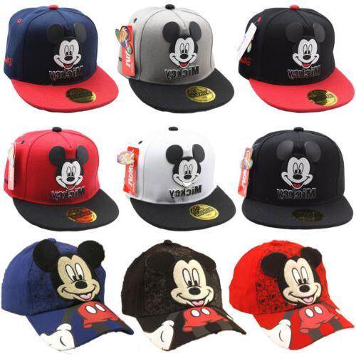 Kids Girls Minnie Hat Caps Hip Hop Snapback Sun