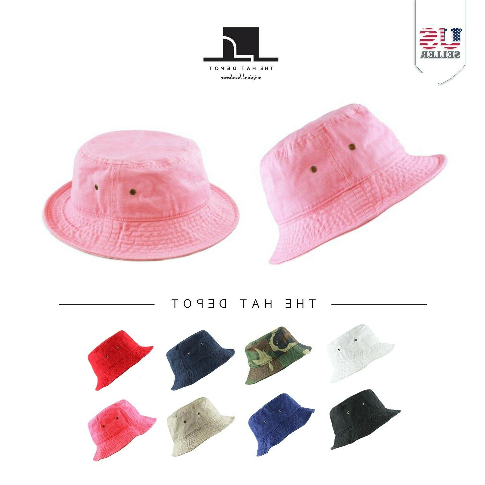kids washed cotton travel bucket packable hat