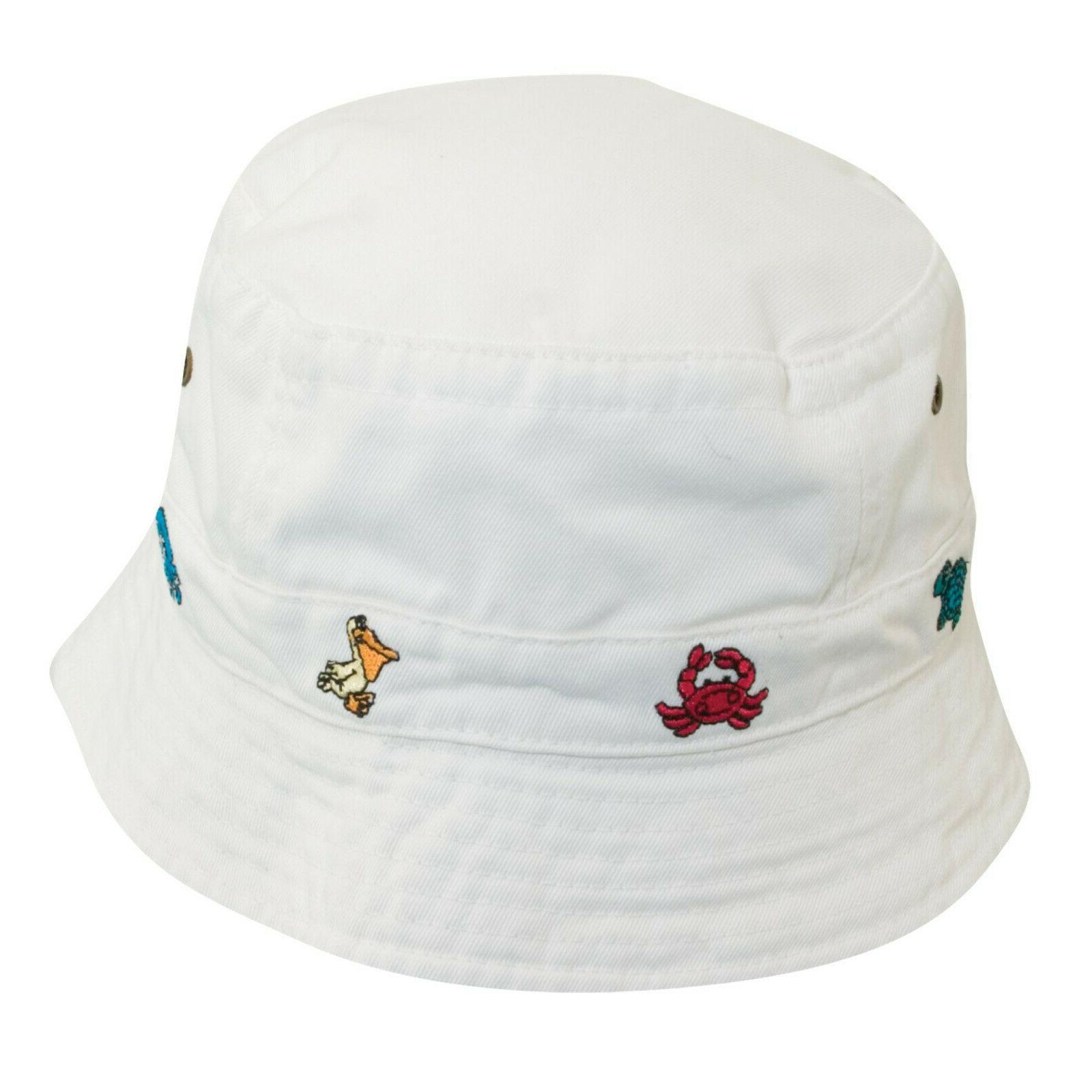 kids white garment washed twill bucket hat