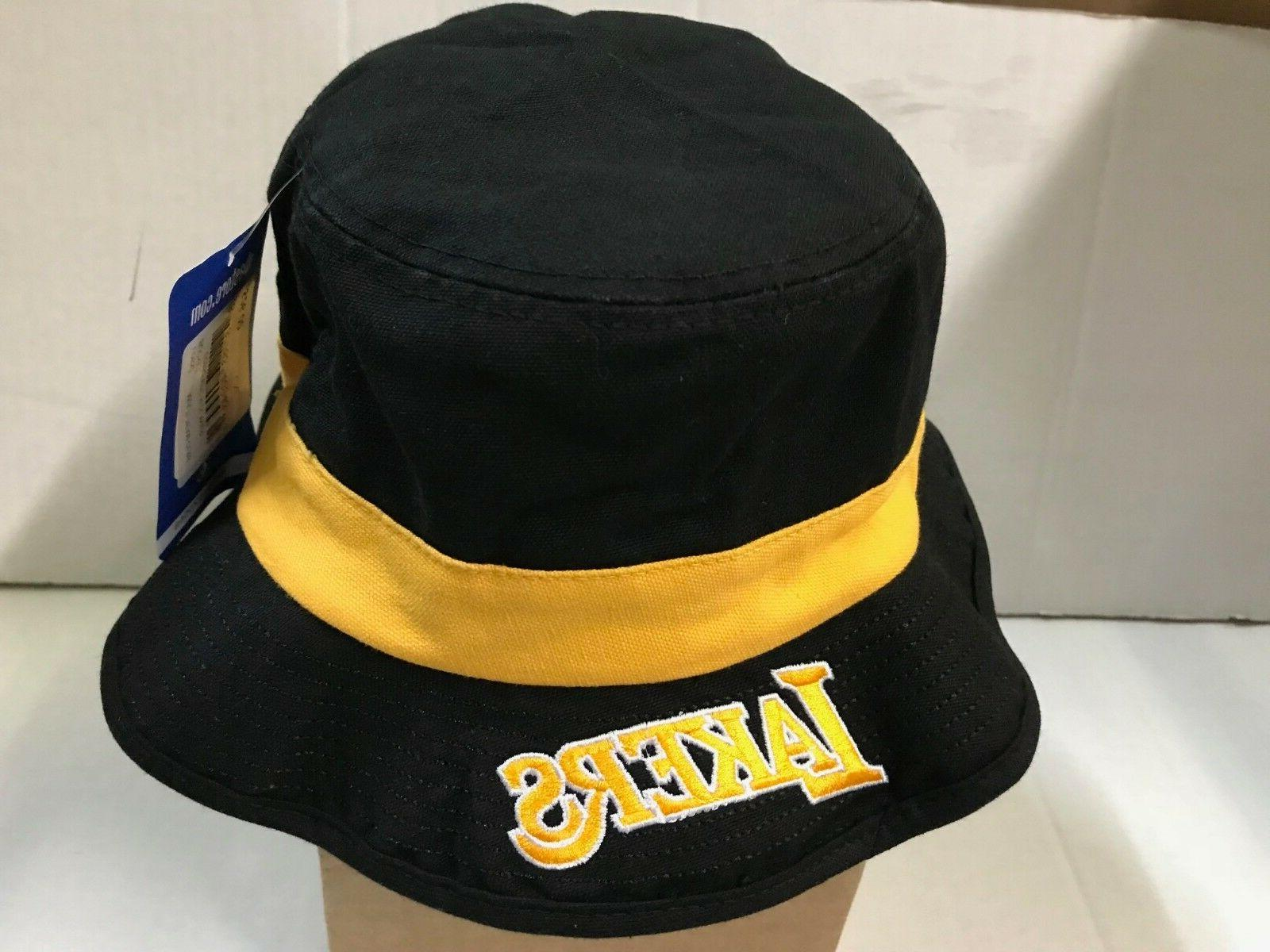 LOS ANGELES LAKERS ADIDAS NBA BLACK BUCKET HAT W/YELLOW BAND
