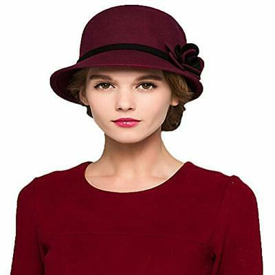 Maitose&Trade Bow Wool Felt Bucket Hat Wine Red