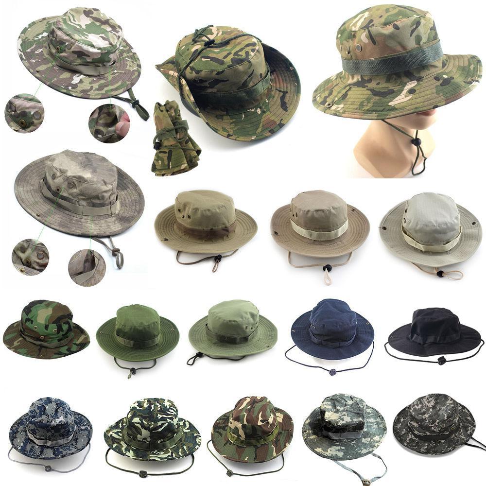 Men Bucket Hat Sun Snap Cap Camo Military Fishing Outdoor