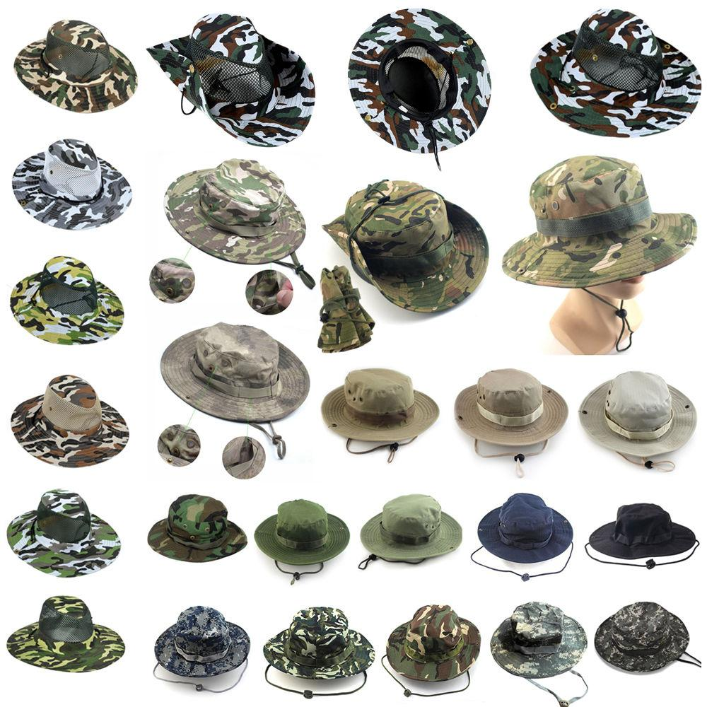 Men Boonie Bucket Hat Sun Snap Cap Camo Military Hunting Fis