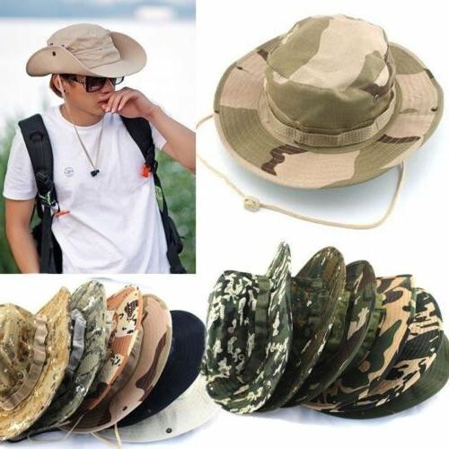 Men Bucket Hats Boonie Wide Brim Sun Cap Outdoor Camo Huntin