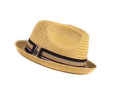 8299fd5f095 Brixton Men s Castor Straw Fedora Hat Tan X-Large