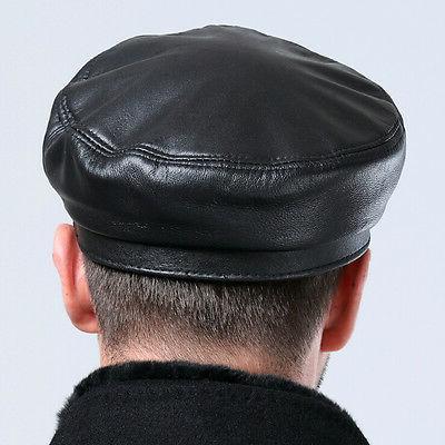 Men's Leather Bucket Caps Cabbie Hat